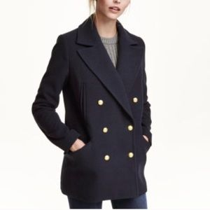 H&M Dark Navy Peacoat w Gold Buttons sz 8 NWOT